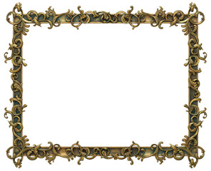Gold Anatique Frame isolated on white background