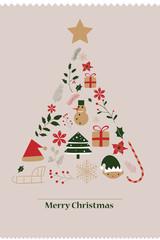 Merry Christmas card with christmas tree.
