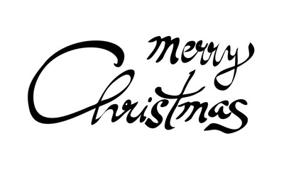 Merry Christmas hand lettering calligraphy isolated on white. Vector image