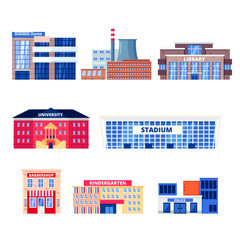 City non-residential buildings, vector icons set. Municipal real estate objects isolated on white background.
