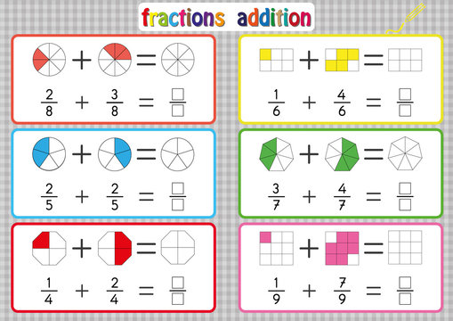 Fractions Addition, Printable Fractions Worksheets for students and Teachers, fraction addition problems. Add two fractions and write the answer in the box.