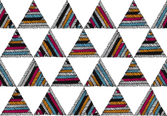 Seamless ethnic hand drawn color geometric pattern on white