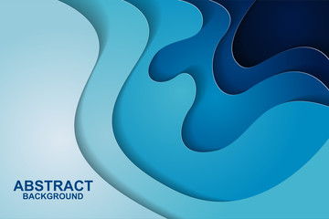 Abstract background design with blue paper cut shapes. Paper cut vector illustration for banner, presentation, and invitation. Paper art and craft style.
