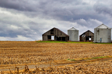 Dilapidated barn and silo