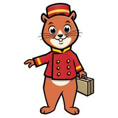 Cartoon Chipmunk Bellboy