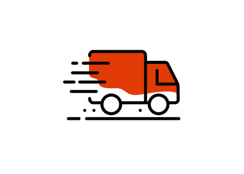 Fast shipping delivery truck. Line icons. Vector illustration for apps and websites