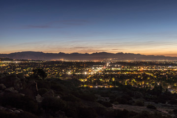 Los Angeles California predawn scenic San Fernando Valley view.  The San Gabriel Mountains are in background.