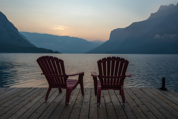 Smoky Sunrise at Lake Minnewanka in Banff National Park