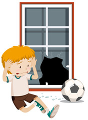 A boy break window with football