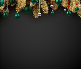 Happy New Year background with green Christmas balls and fir branches.
