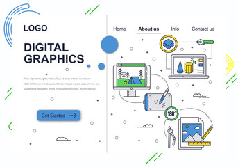 Vector web site linear art design template. Graphic art, drawing tablet and software . Landing page concepts for website and mobile development. Modern flat illustration.