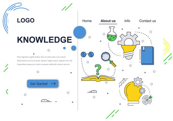 Vector web site linear art design template. School education and knowledge. Landing page concepts for website and mobile development. Modern flat illustration.