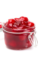Cherry Pie Filling in a Glass Canning Jar