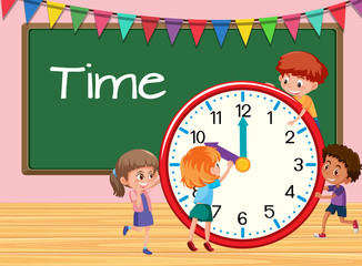 Children learning time classroom background