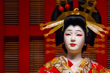 Life size dolls portray traditional Japanese stage performance at Edo Tokyo Museum
