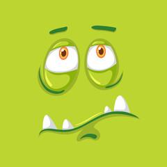 Sad green monster face
