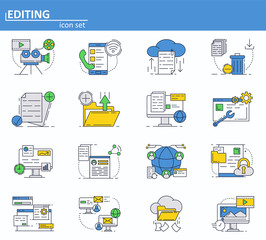 Vector set of computer services icons in thin line style. Messages, email, cloud storage. Website UI and mobile web app icon. Outline design illustration.