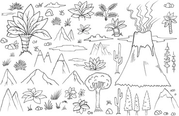 Fotobehang Cartoon draw Nature Graphic Resource Doodles Vector Set