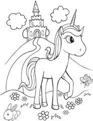 Poster Cartoon draw Cute Unicorn Vector Illustration Art