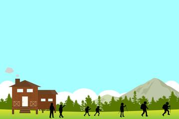 ハイキング 山小屋