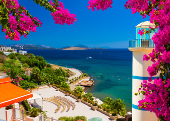 Clear blue waters and beautiful flowers in Ortakent, Turkey