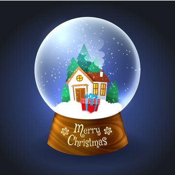 Snowglobe for xmas. Christmas small house at night in Snow crystal globe isolated on blue background, vector illustration