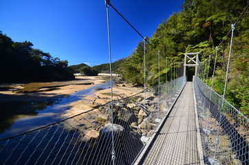 Suspended bridge in Abel Tasman National Park
