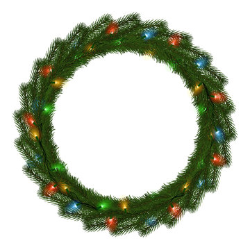 Green Christmas wreath with light string vector isolated on white background. Xmas round garland dec