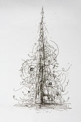 Creative concept christmas tree abstract ink pen drawing. Abstract forms and elements growing or forming into a tree.
