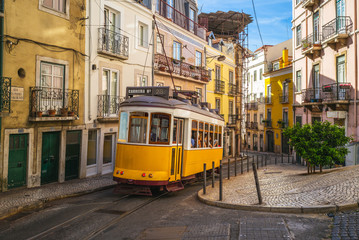 tram on line 28 in lisbon, portugal Wall mural