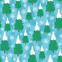 Cool Winter Pine Tree Snowflake Seamless Pattern Background