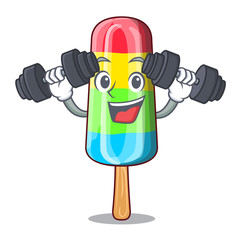 Fitness colorful ice cream sticks on cartoon