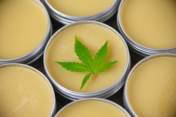 Cannabis hemp cream or salve - marijuana topicals concept
