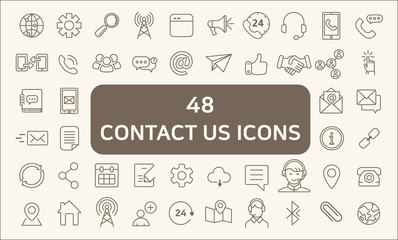 Set Of 48 Contact Us Outline Icons Set.Collection Of links, caffeine, call, bullhorn And Other Elements. customize color, stroke width control , easy resize.