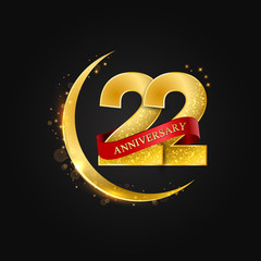 Eid al Adha 22 years anniversary.Pattern with arabic golden, gold half moon and glitter.Vector illustration of greeting cards, covers, prints.