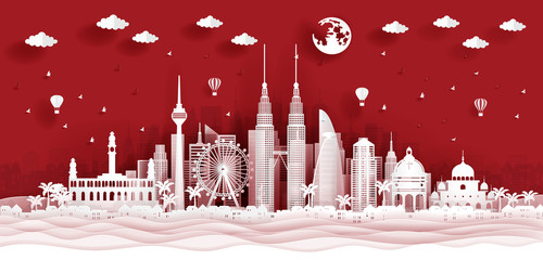 Fototapete - Panorama postcard of world famous landmarks of Kuala Lumpur, Malaysia in paper cut style vector illustration