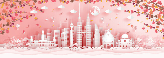 Fototapete - Panorama postcard of world famous landmarks of Malaysia with falling maple leaves in paper cut style vector illustration