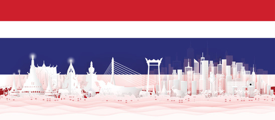 Fototapete - Panorama postcard of world famous landmarks of Thailand with Thai flag in paper cut style vector illustration