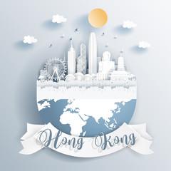 Fototapete - Hong Kong landmarks on earth in paper cut style vector illustration.
