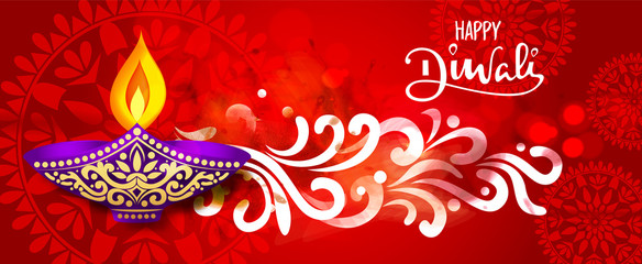 creative vector abstract or sale banner for Diwali decorated with patterns and mandalas. Vector illustration