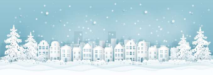 Fototapete - Winter city with houses, buildings and Christmas tree, Christmas card in paper cut style vector illustration