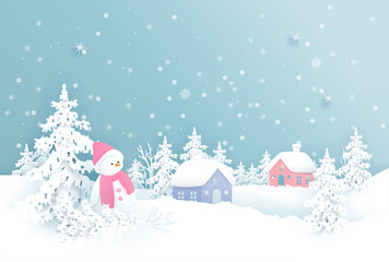 Christmas card with Christmas village and falling snow in paper cut vector illustration.