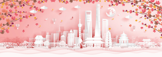 Wall Mural - 10. SH autumnAutumn in Shanghai, China with falling maple leaves in paper cut style vector illustration