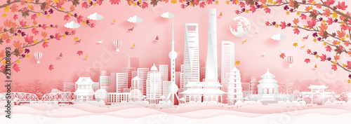 Fototapete 10. SH autumnAutumn in Shanghai, China with falling maple leaves in paper cut style vector illustration