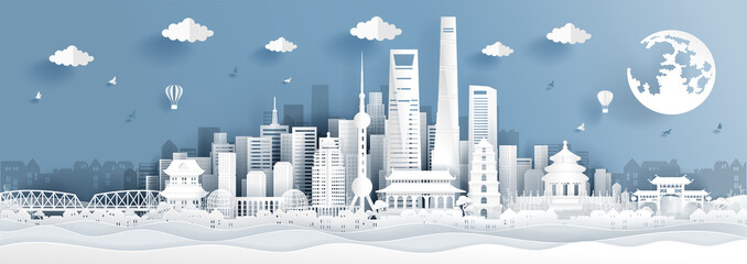 Wall Mural - Panorama postcard of world famous landmarks of Shanghai, China in paper cut style vector illustration