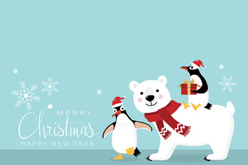 Merry Christmas greeting card with cute polar bear and penguins with present. Arctic animal in winter costume cartoon character.