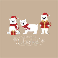 Merry Christmas and happy new year greeting card with cute white polar bear and gift. Animal holidays cartoon character.