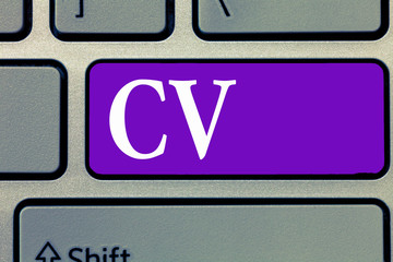 Word writing text Cv. Business concept for Job seeker life experiences Education attainment skills and expertise.