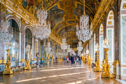 The Hall Of Mirrors In Palace Of Versailles Stock Photo And Royalty