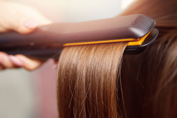 Hair iron straightening beauty care salon